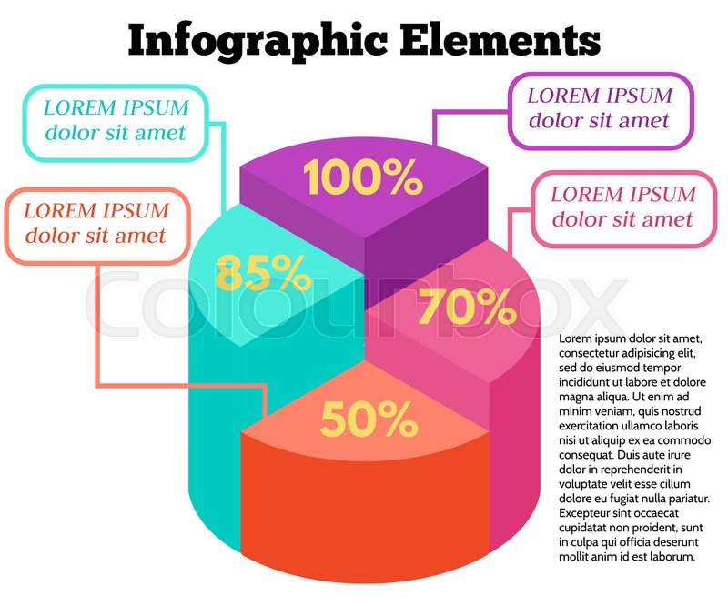 Isometric vector infographic elements business pie chart on white isometric vector infographic elements business pie chart on white background colorful circle diagram with different percentage stock vector colourbox ccuart Image collections
