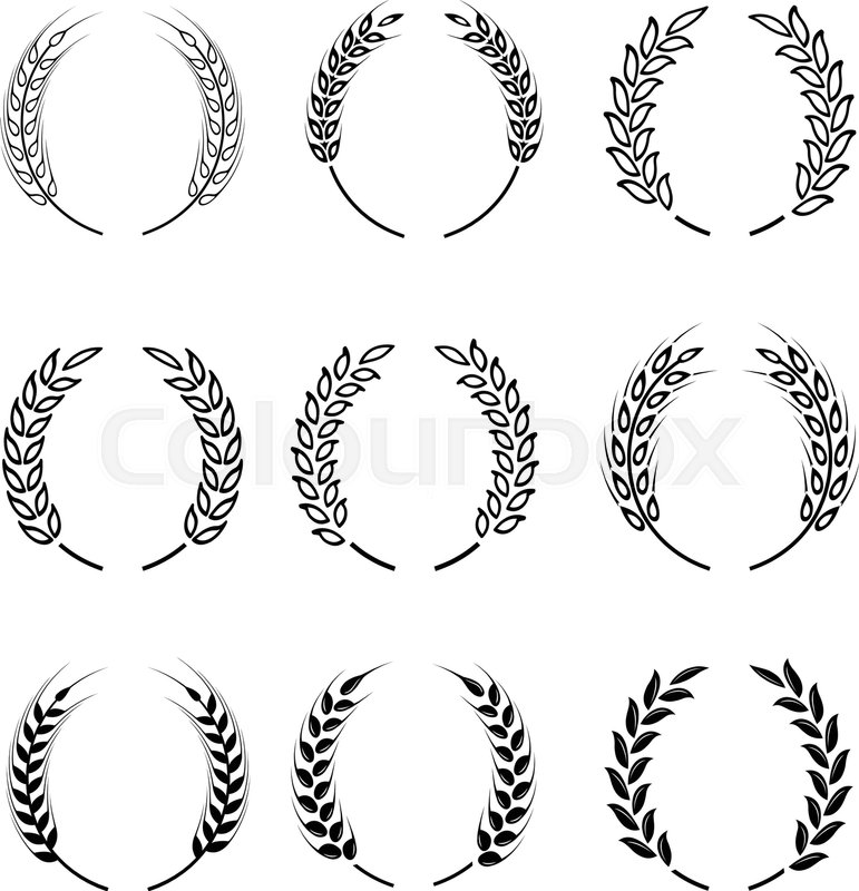 Black Laurel Wreath A Symbol Of The Winner Wheat Ears Or Rice