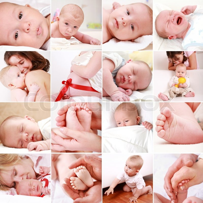 Collage of different photos of babies and family moments, stock photo