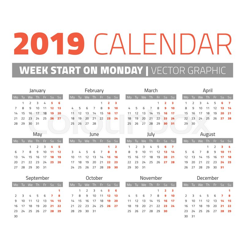 simple 2019 year calendar week starts on monday stock vector colourbox