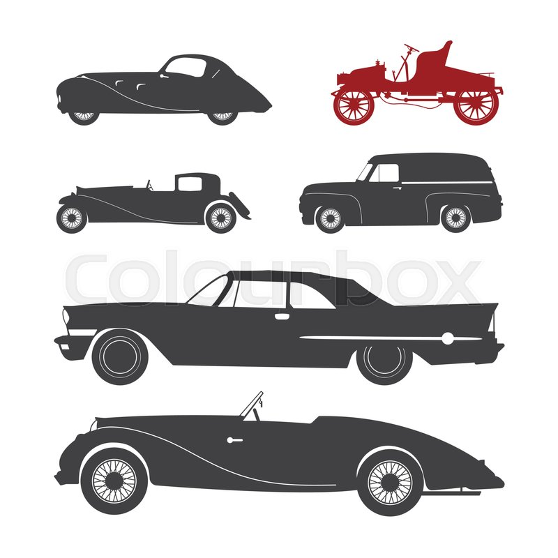 Vector Illustration With Black Retro Car Silhouette Stock Rhcolourbox: Old Fashion Car Silhouette At Cicentre.net