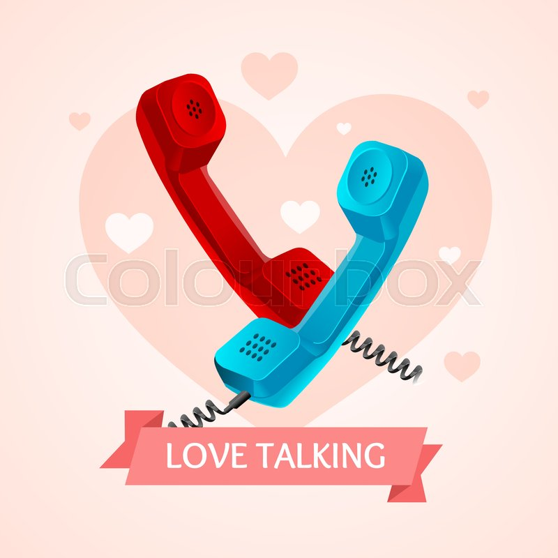 Love Talk Old Phone Concept On A Background Of Heart Symbol Of