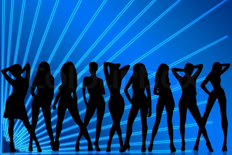 Silhouette Dance Music Abstract Background: Silhouettes Of Females Dancing On Abstract Background