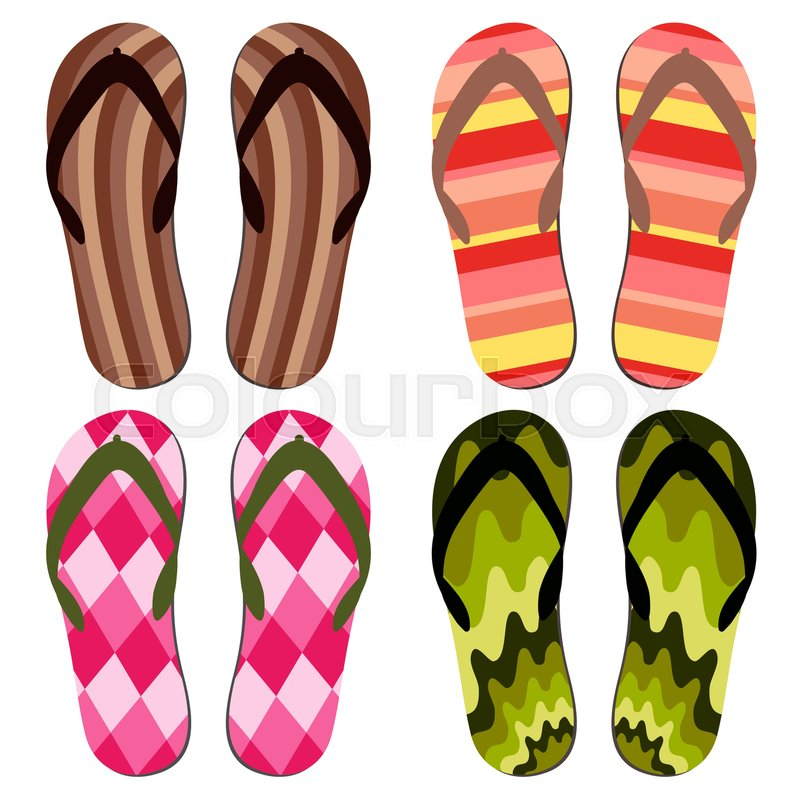 bcba0ebf37224 Set of Beach Slippers. Colorful Summer ...