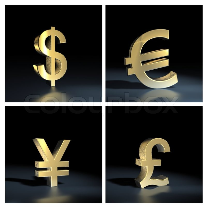 Different Currency Symbols Isolated Over Black Background Stock