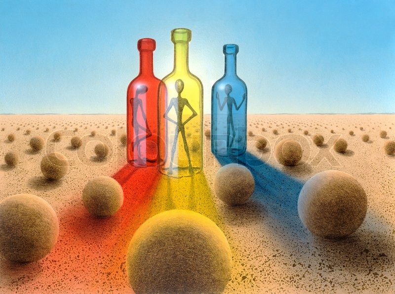 Stock image of 'Three bottles in surreal desert ambiance'