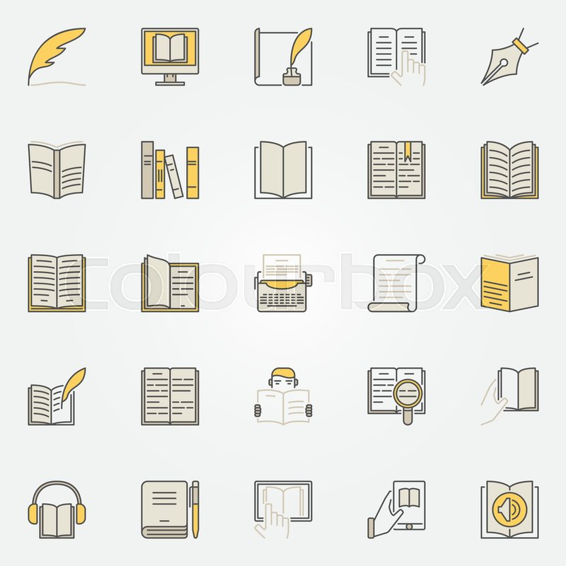 Literature Colorful Icons Set Vector Reading And Writing Creative
