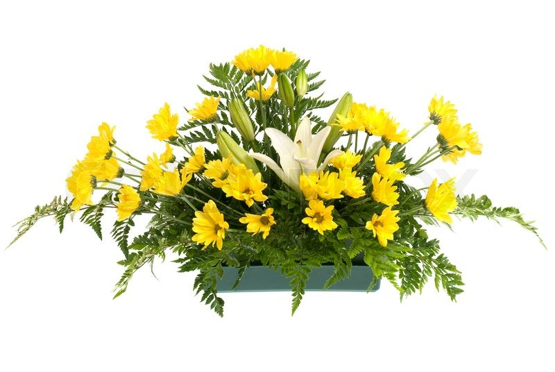 Yellow daisy and white flowers arrangement isolated on white ...