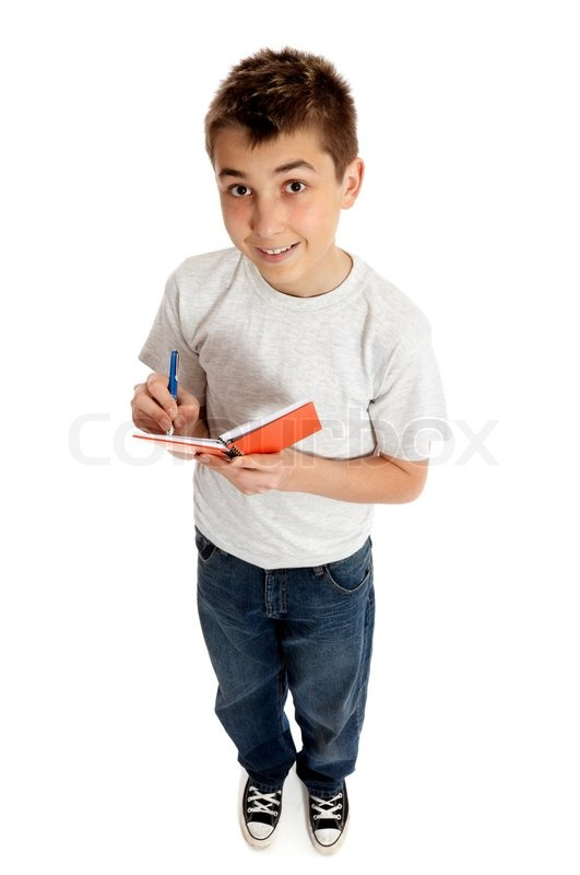Full length boy jotting down notes in a small book or for Entire book on shirt