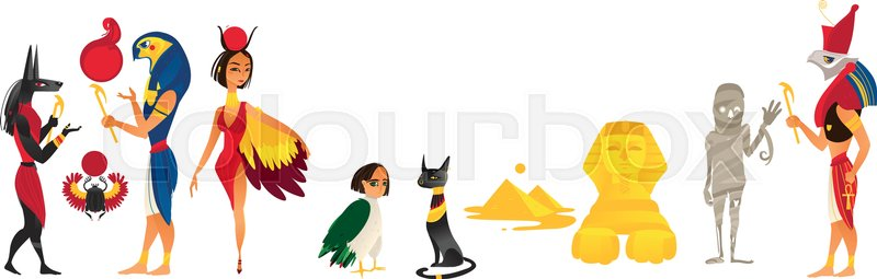 Vector Cartoon Flat Egypt Gods And Sacred Symbols Set Isolated