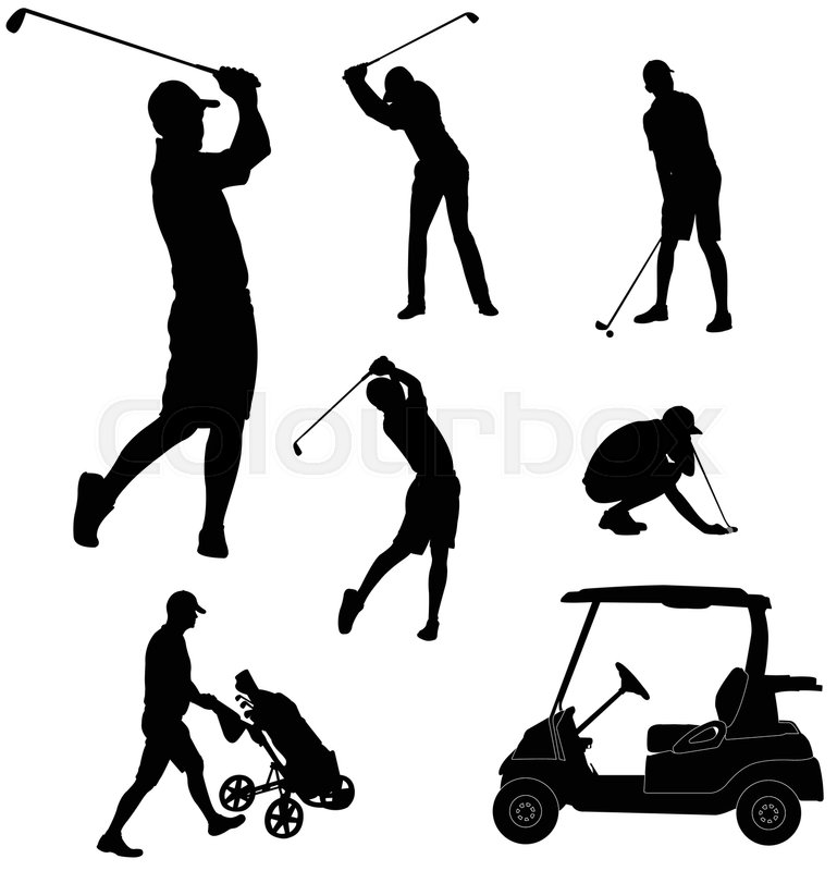 Golf Players Silhouettes Vector Stock Vector Colourbox