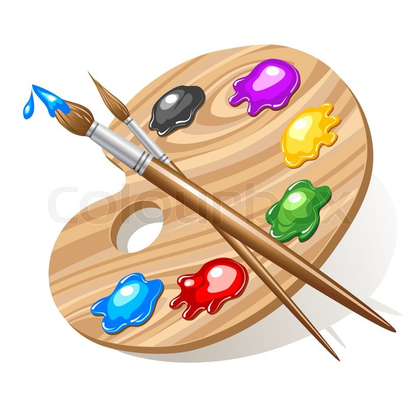 Wooden art palette with paints and brushes | Stock Vector ...