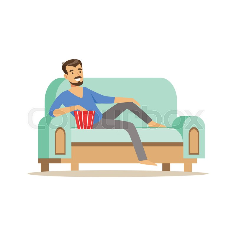 Young Smiling Bearded Man Lying On A Stock Vector