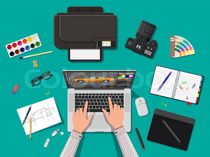 Designer workplace  Illustrator     | Stock vector | Colourbox