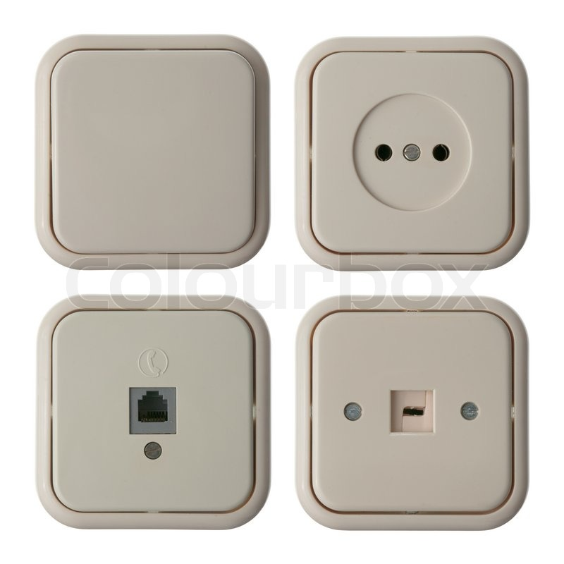 Four wall mounted electrical plates isolated on white background ...