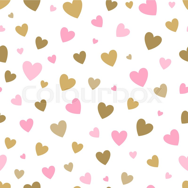 Seamless Pattern White Background With Pink And Gold