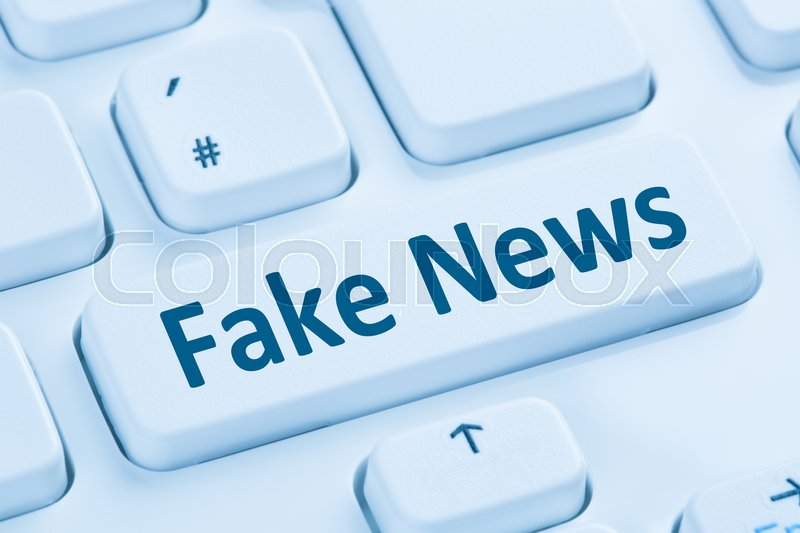Stock image of 'Fake news truth lie media internet button online blue computer keyboard symbol'