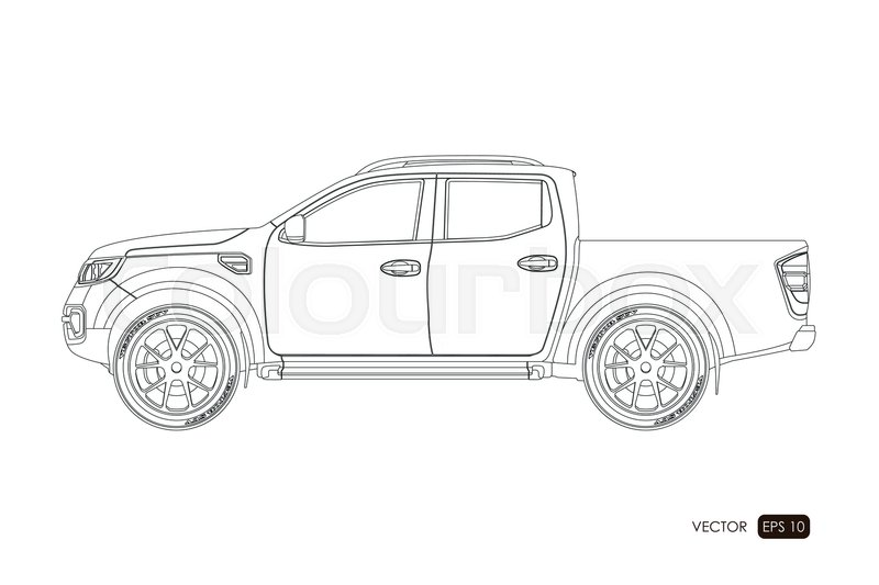 blueprint of suv  contour drawing of