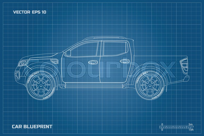 Drawing of the car on a blue background side view of pickup drawing of the car on a blue background side view of pickup industrial blueprint of suv vector illustration stock vector colourbox malvernweather Gallery