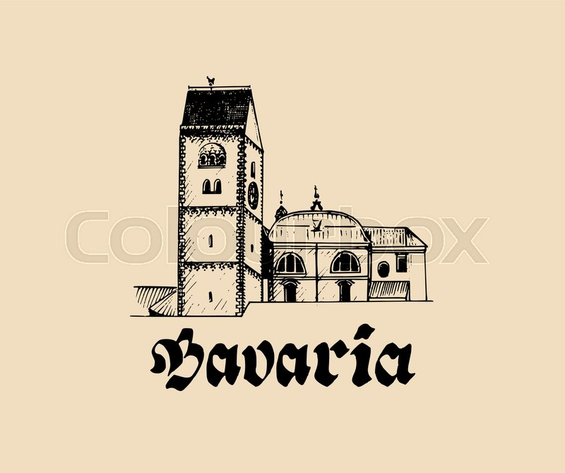 Vector Hand Sketched Bavarian Architecture Symbol Illustration With