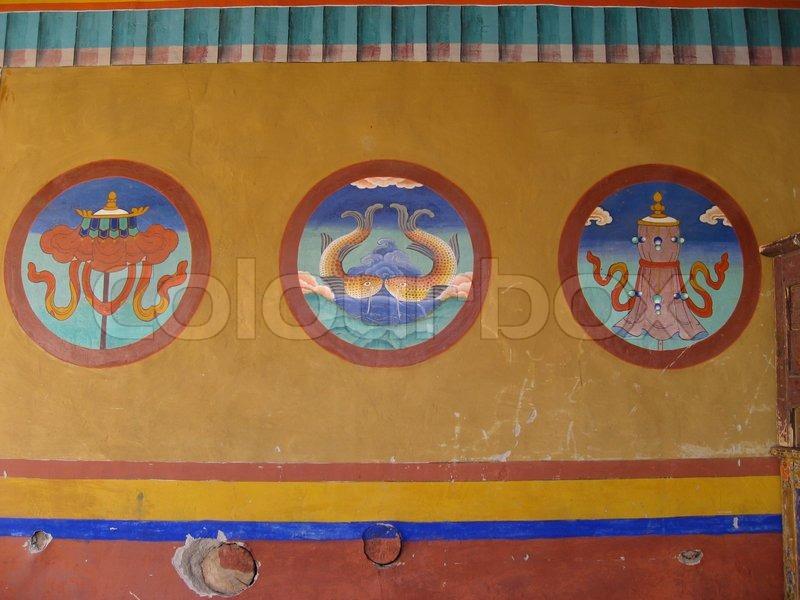 Asia Asian Asians China Chinese Tibet Tibetan Tibetans Wall Painting Wallpainting Rich Colourful Colourfull Mandala Deities Deity Blue