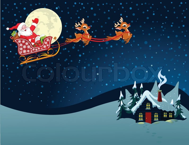 Cartoon Illustration Of Santa Claus In His Sleigh Stock