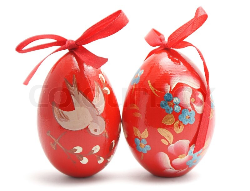 Two Hand Painted Easter Eggs Isolated On White Background