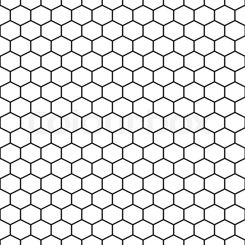 Hexagon Grid Cells Vector Seamless Pattern Hexagonal Tile Background In Black And White