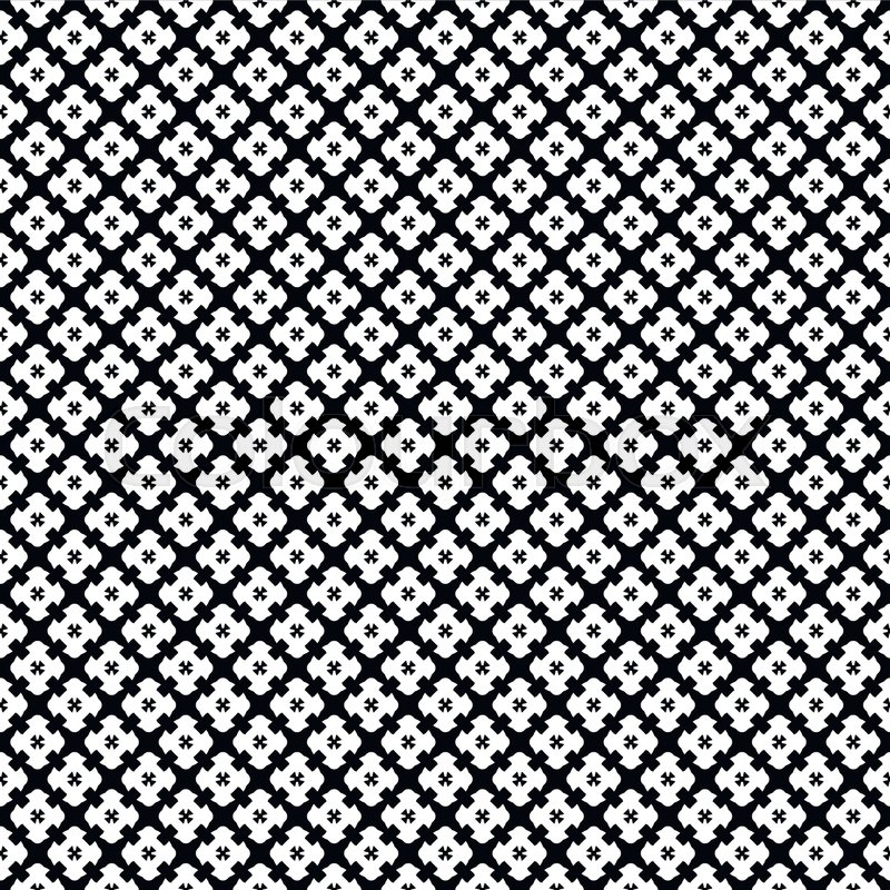 Vector Monochrome Seamless Pattern Simple Black White Repeat Geometric Texture Endless Mosaic Background Retro Gothic Style