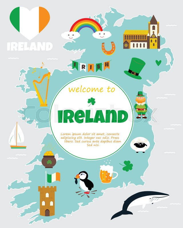 Tourist map of ireland with landmarks destinations and for Irish mail cart plans