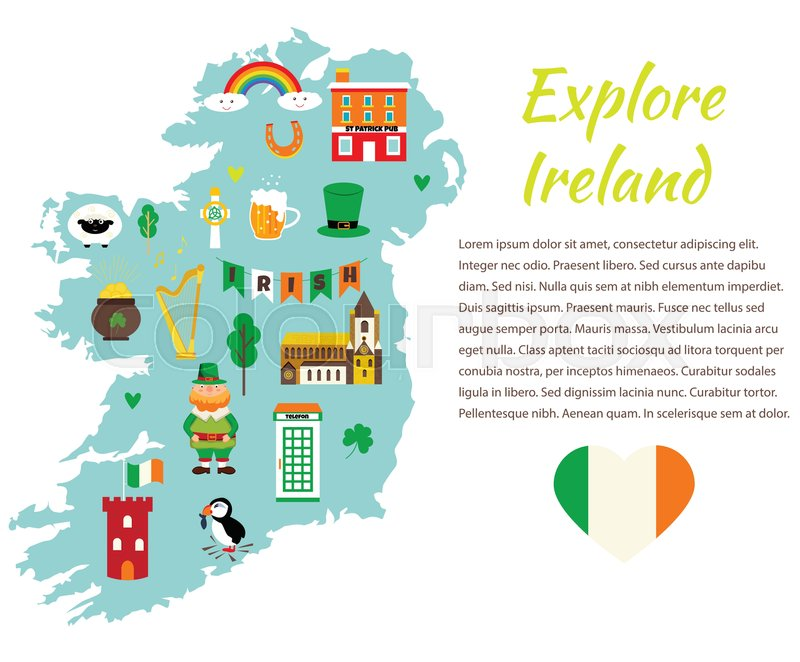 Background Template With Tourist Map Of Ireland With Landmarks