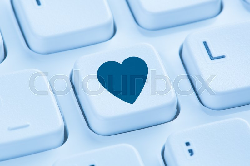 Searching Partner Love Online Internet Dating Heart Symbol Blue
