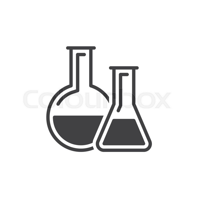 Chemistry Lab Glassware Icon Vector Filled Flat Sign Solid