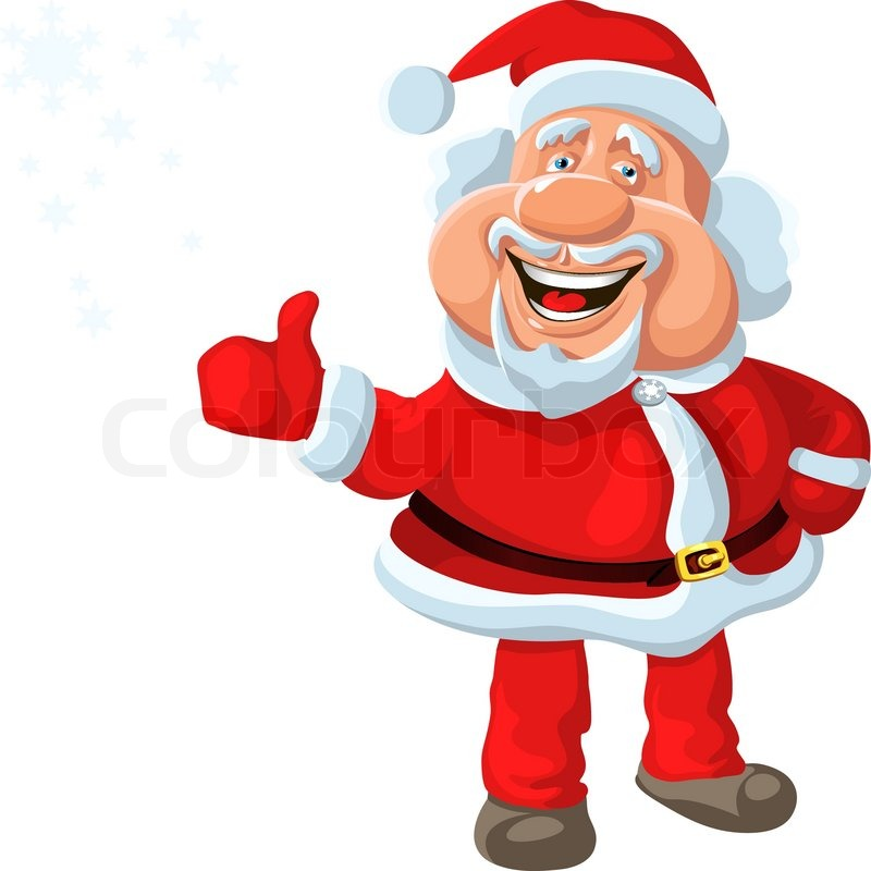 funny cartoon santa claus shows ok, isolated on the white background