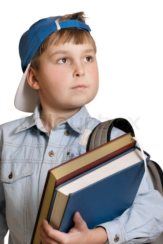 Schoolboy with backpack and books over ... | Stock Photo ...