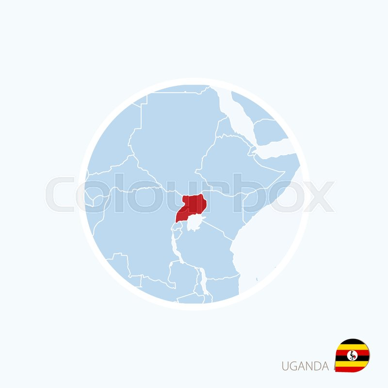 Map Of Africa Uganda Highlighted.Map Icon Of Uganda Blue Map Of Africa Stock Vector