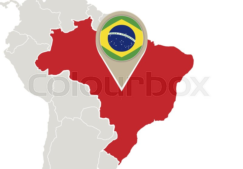 Map with highlighted brazil map and flag stock vector colourbox map with highlighted brazil map and flag vector gumiabroncs Images