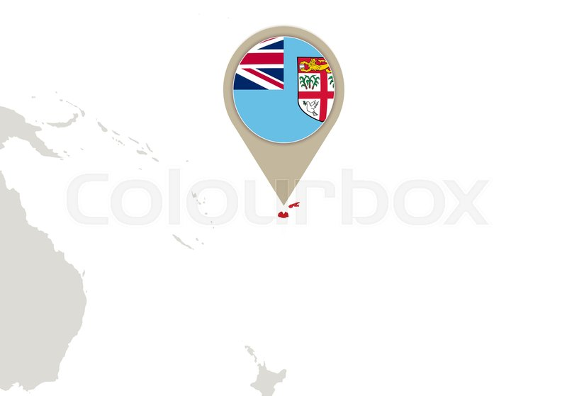 Map with highlighted fiji map and flag stock vector colourbox gumiabroncs Gallery