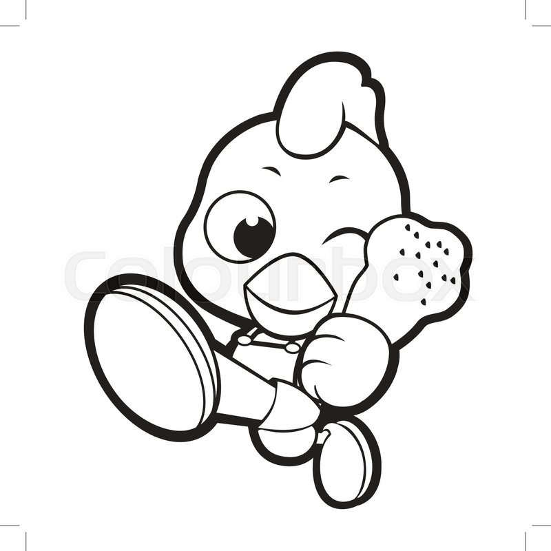 Black And White Happy Chicken Mascot Goes Up Like A Cartoon Hero Vector Illustration Isolated On Background