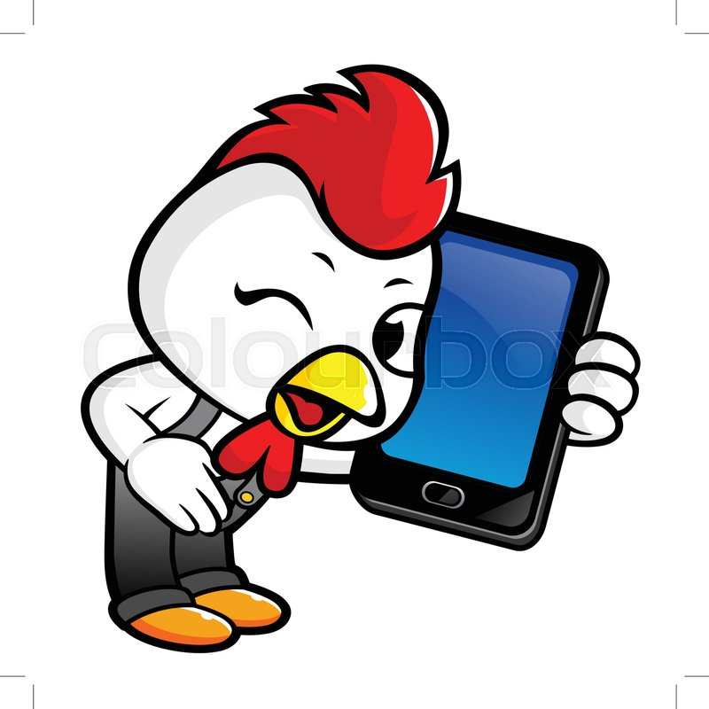 Chicken Character has smart phone     | Stock vector | Colourbox
