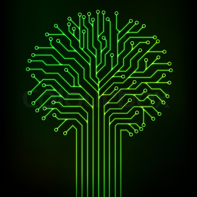 Circuit printed board in the shape of a tree with green neon lines ...
