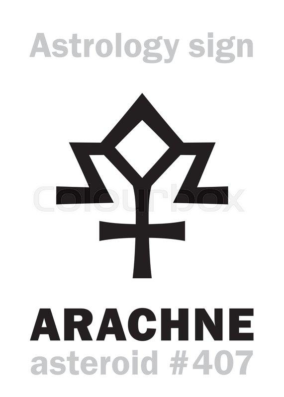 Astrology Alphabet: ARACHNE, asteroid     | Stock vector