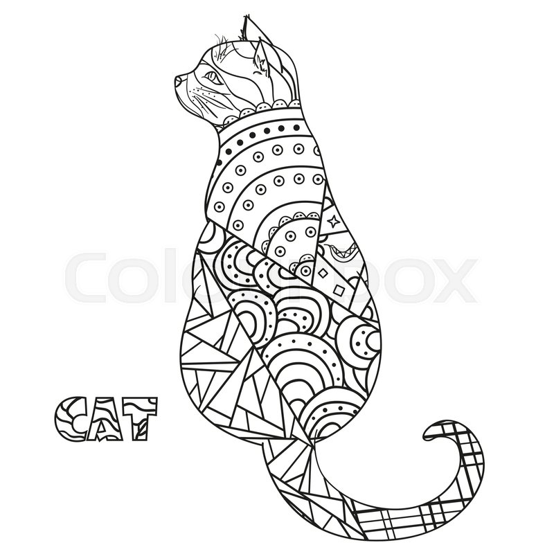 Cat Zentangle Hand Drawn Cat With Abstract Patterns On