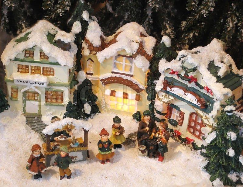 Christmas Decoration Small Houses Stock Image Colourbox
