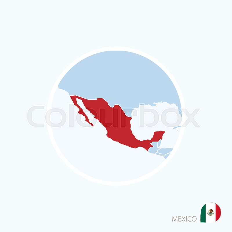 Map icon of Mexico Blue map of North America with highlighted