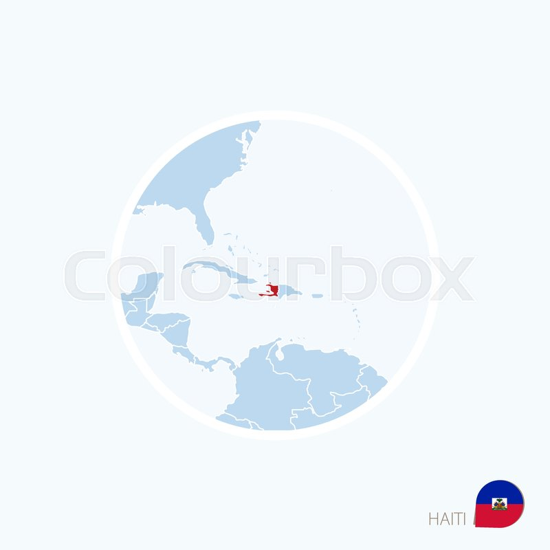 Map icon of haiti blue map of caribbean with highlighted haiti in map icon of haiti blue map of caribbean with highlighted haiti in red color vector illustration stock vector colourbox gumiabroncs Images
