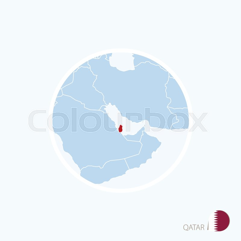 Map Icon Of Qatar Blue Map Of Middle Stock Vector Colourbox
