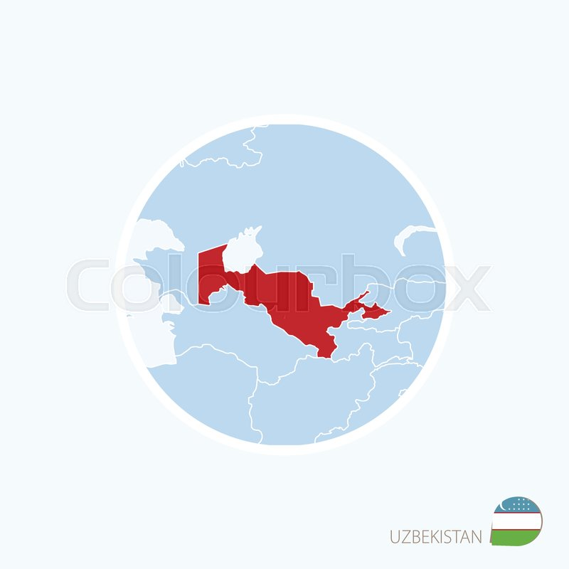 Map icon of uzbekistan blue map of asia with highlighted uzbekistan map icon of uzbekistan blue map of asia with highlighted uzbekistan in red color vector illustration vector gumiabroncs Image collections