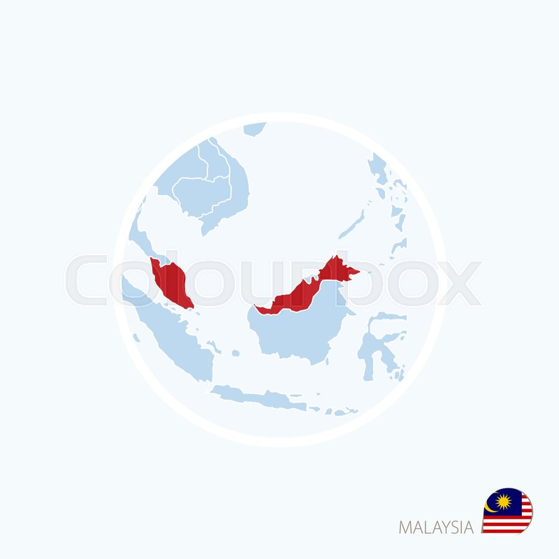 Map Of Asia Malaysia.Map Icon Of Malaysia Blue Map Of Asia Stock Vector Colourbox
