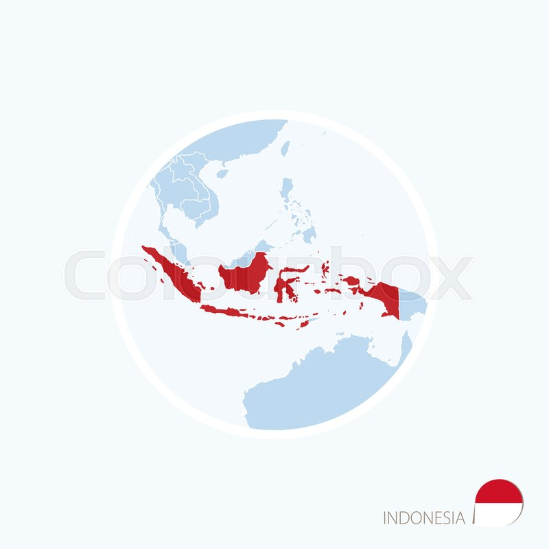 Map icon of indonesia blue map of asia with highlighted indonesia map icon of indonesia blue map of asia with highlighted indonesia in red color vector illustration stock vector colourbox gumiabroncs Choice Image